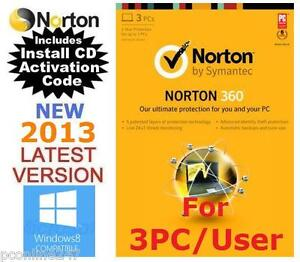 Norton 360 Version 6.0 V6 3 User / PC Anti Virus Internet Security 2013