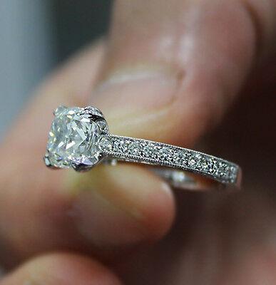 2.10ct. Natural Cushion Cut Pave Milgrain Diamond Engagement Ring GIA Certified 2