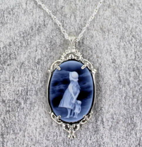 Blue Agate Cameo Necklace Pendant  .925 Sterling Silver Carved in Germany