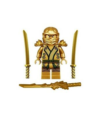 LEGO NINJAGO MINIFIGURE GOLD NINJA LLOYD DRAGON SHAMSHIR SWORDS GOLDEN - Ninja Lloyd