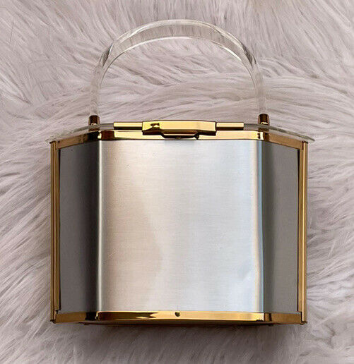 Vintage Majestic Box Purse Lucite Silver Gold Two Toned Metal