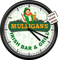 Irish Bar Pub & Grill Diner Mulligan Etc. Personalized Your Name Sign Wall Clock