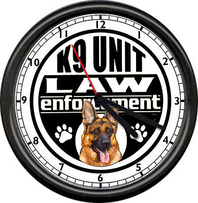 Police Officer K9 Unit German Shepherd Dog Law Enforcement Cop Sign Wall Clock