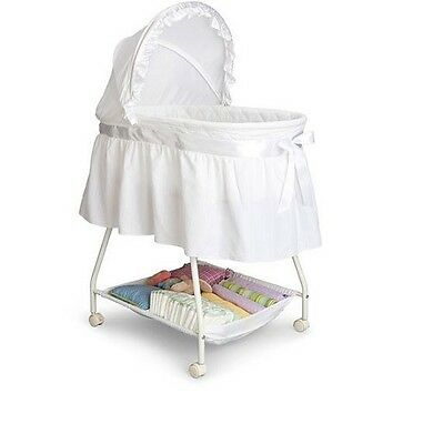 Baby Infant Newborn Bassinet Crib Cradle Portable Nursery Furniture White Bed