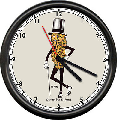 Mr Peanut Planter's Nuts Retro Top Hat Sign Wall Clock
