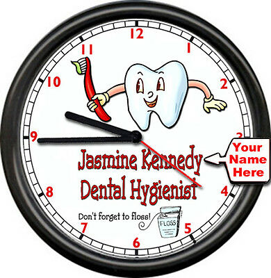 Personalized Your Name Dental Hygenist Dentist Teeth Cleaning Sign Wall Clock