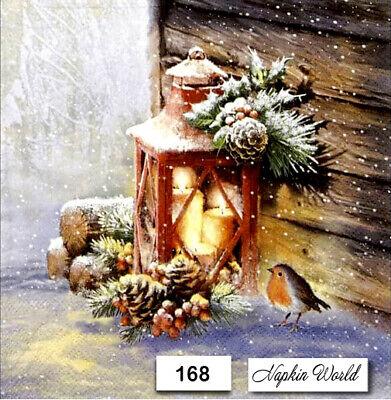 (168) TWO Individual Paper LUNCHEON Decoupage Napkins - CHRISTMAS ROBIN LANTERN