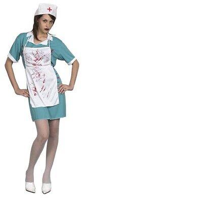 Sangriento NURSE Mujer Adulto Disfraz Traje Camiseta Capricho Zombie Halloween