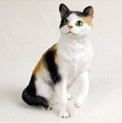SHORTHAIRED CALICO CAT Figurine Statue Hand Painted Resin Gift