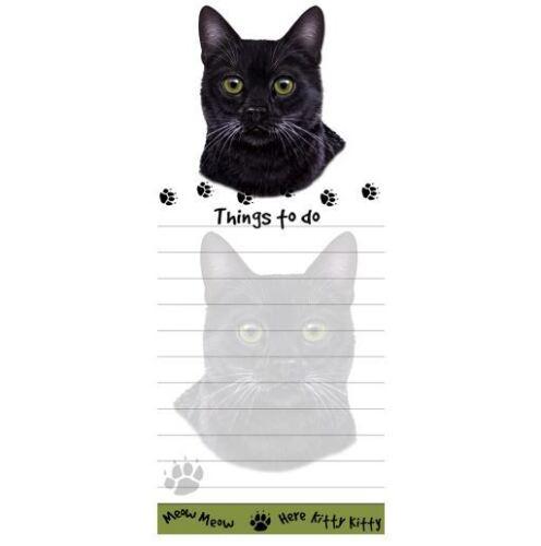 BLACK  CAT DIECUT LIST PAD NOTES NOTEPAD Magnetic Magnet Refrigerator