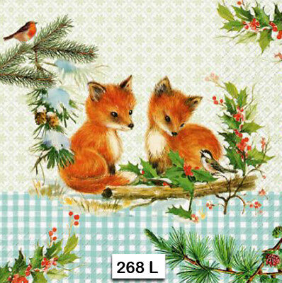 (268) TWO Individual Paper Luncheon Decoupage Napkins - FOX, KITS BIRDS GINGHAM (Gingham Paper Napkins)