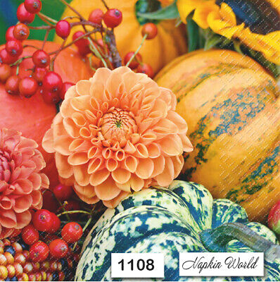 (1108) TWO Individual Paper Luncheon Decoupage Napkins - AUTUMN FALL MUMS GOURDS