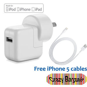 1x Wall Charger AC Power Adapter Cable for iPhone 5 iPad 4 Mini iPod Touch Nano