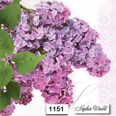 Blush Paper Napkins ((1151) TWO Individual Paper Luncheon Decoupage Napkins - LILAC FLOWER BLOOM)