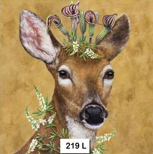(219) TWO Individual Paper Luncheon Decoupage Napkins - DEER HEADDRESS FLOWERS