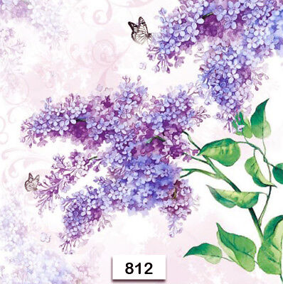 (812) TWO Individual Paper Luncheon Decoupage Napkins - LILAC, FLOWERS, PURPLE (Lilac Napkins)