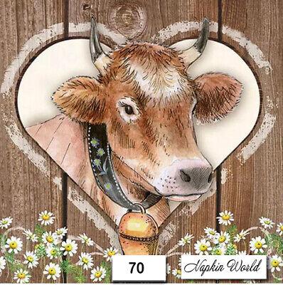 (70) TWO Individual Paper LUNCHEON Decoupage Napkins - COW HEIFER CATTLE MOOOOO!