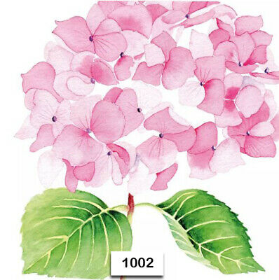 Blush Paper Napkins ((1002) TWO Individual Paper Luncheon Decoupage Napkins - HYDRANGEA PINK)