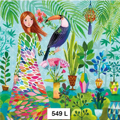 TWO (2) Paper Luncheon Napkins Decoupage (549) WHIMSICAL, GIRL, TROPICAL, BIRD