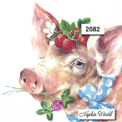 (2082) TWO Individual Paper LUNCHEON Decoupage Napkins  SPRING PIG PIGGY FLOWERS