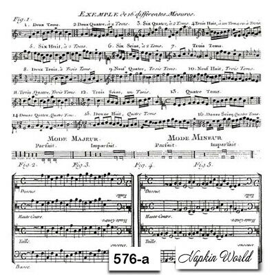 (576-a) TWO Individual Paper Luncheon Decoupage Napkins - MUSIC MUSICAL SHEET