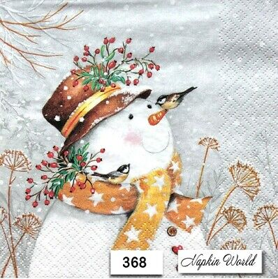 (368) TWO Individual Paper Luncheon Decoupage Napkins - SNOWMAN CHRISTMAS WINTER