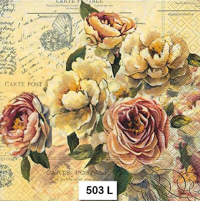 TWO (2) Paper Luncheon Decoupage Napkins (503) FLORAL, FLOWERS, VINTAGE, ROSES