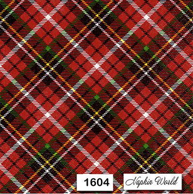 Plaid Paper Napkins ((1604) TWO Individual Paper Luncheon Decoupage Napkins - TARTAN PLAID RED)