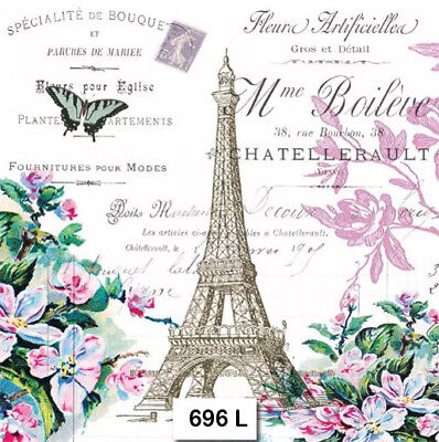 (696) TWO Individual Paper Luncheon Decoupage Napkin - EIFFEL TOWER PARIS FRENCH