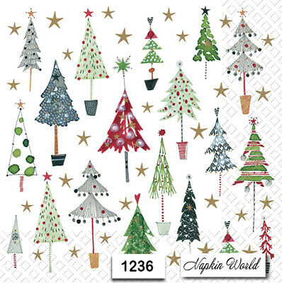 (1236) TWO Individual Paper LUNCHEON Decoupage Napkins - CHRISTMAS TREES STARS