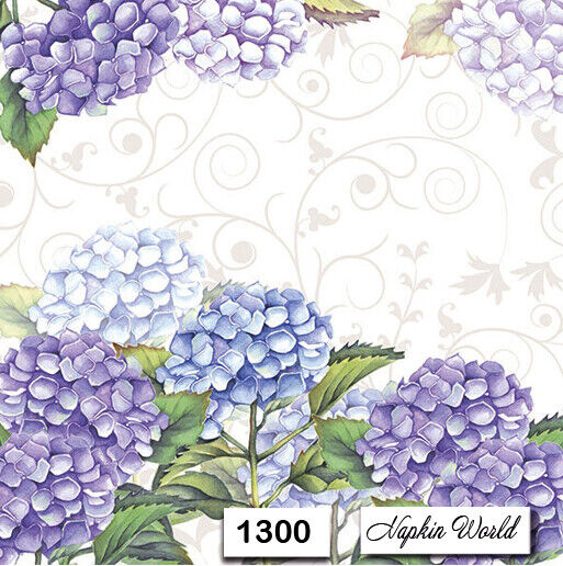 (1300) TWO Individual Paper Luncheon Decoupage Napkins - HYDRANGEA LILAC BLUE