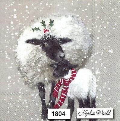 (1804) TWO Individual Paper LUNCHEON Decoupage Napkins - SHEEP LAMB CHRISTMAS