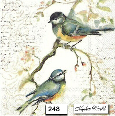 (248) TWO Individual Paper Luncheon Decoupage Napkins - BIRDS AUTUMN COLLAGE