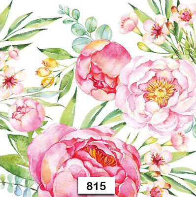 Blush Paper Napkins ((815) TWO Individual Paper Luncheon Decoupage Napkins - FLOWERS, PEONY,)