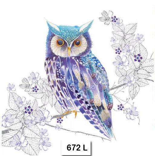 (672) TWO Individual Paper Luncheon Decoupage Napkins - OWL PURPLE BLUE BIRD