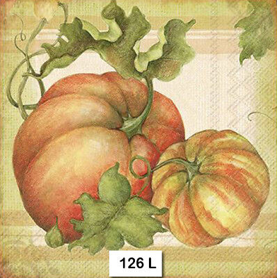 (126) TWO Individual Paper Luncheon Decoupage Napkins - PUMPKINS, AUTUMN, FALL