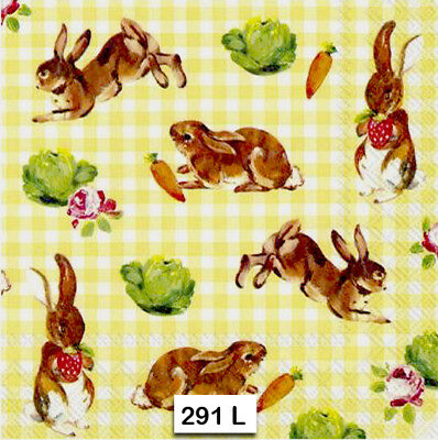 (291) TWO Individual Paper Luncheon Decoupage Napkins - BUNNIES, RABBIT, GINGHAM (Gingham Paper Napkins)