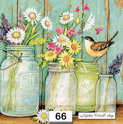 (66) TWO Individual Paper Luncheon Decoupage Napkins - MASON JARS FLOWERS BIRD  (Single Mason Jars)