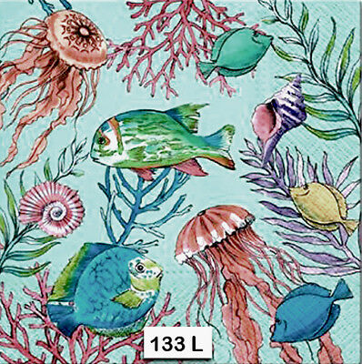 TWO (2) Paper Luncheon Decoupage Napkins (133) FISH, OCEAN, JELLYFISH, CORAL