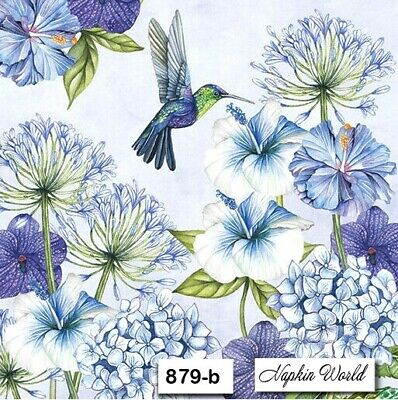 (879-b) TWO Individual Paper Luncheon Decoupage Napkins HUMMINGBIRD BLUE FLORAL