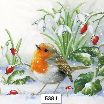 (538) TWO Individual Paper Luncheon Decoupage Napkins - ROBIN BIRD SNOW WINTER