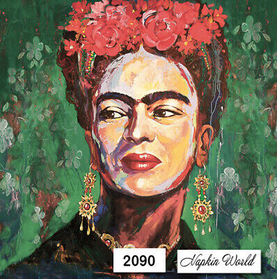 (2090) TWO Individual Paper LUNCHEONDecoupageNapkins FRIDA KAHLO MEXICAN ARTIST