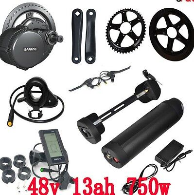 Ebike Mid Drive Crank Motor Electric Bike Kit Lithium Ion Battery Charger 48V