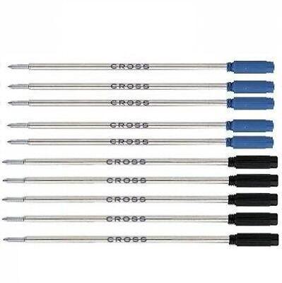 10 - Authentic CROSS Ballpoint pen Refills - BLUE & BLACK MEDIUM