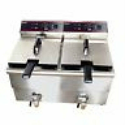 Adcraft Double Fryer Electric Df12l-2 With Lids Excellent Value