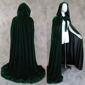 Lined D Green Black Velvet Cloak Cape Pagan Mardi Gras Wedding Wizard Wicca LOTR