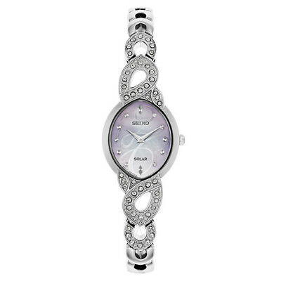 Seiko Women's Core Crystal Stainless Steel MOP Solar Watch SUP339