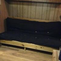 solid wood (pine) futon frame and mattress