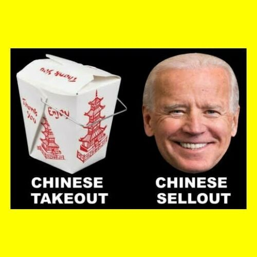"Funny ""CHINESE SELLOUT"" globalism sticker ANTI JOE BIDEN DECAL impeach rat rod"