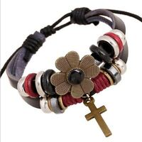 LEATHER FLOWER/CROSS BRACELET NEW